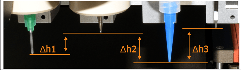 Automatic XYZ calibration for different tools/nozzles