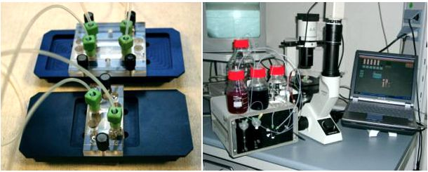 MicCell Examples with microscope adapters (blue, Left), Experimental setup for a MicCell with fluid processor (Right)