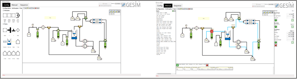 MicCell GUI. Devices in the F-Box are automatically detected. Add them to the fluid diagram via clicking and dragging (left) and manually control them (right). You can also define automatic processes including many controls, e.g. status queries, loops, counters (not shown).